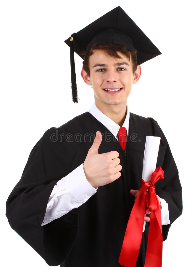 Graduate with a scroll royalty free stock image