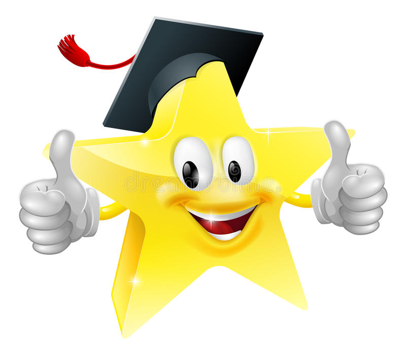 Graduate star mascot. Cartoon star mascot with a graduate's mortarboard cap on giving a thumbs up royalty free illustration