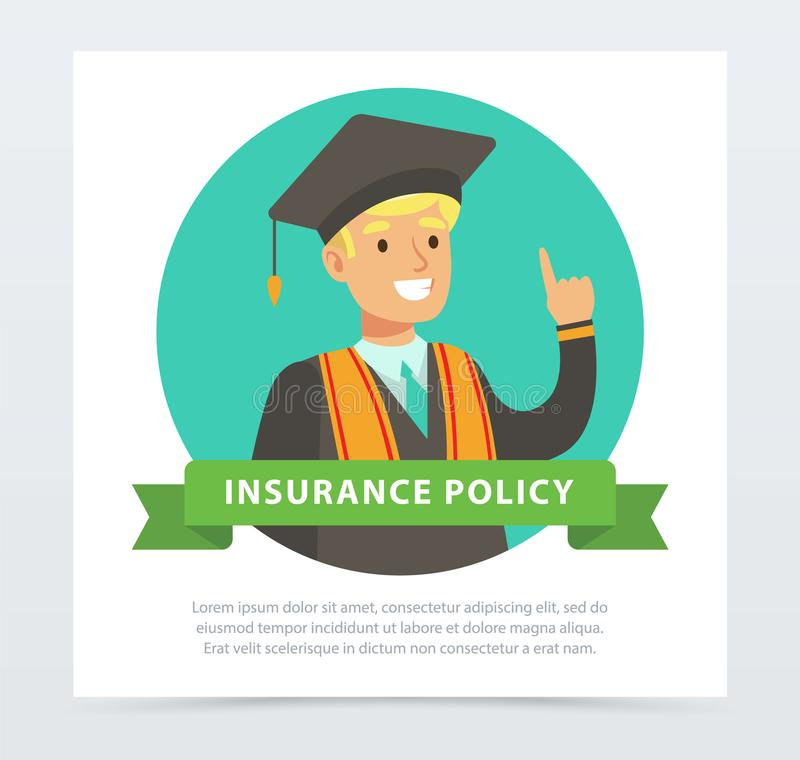 Graduate student, future financial planning concept, insurance policy banner flat vector element for website or mobile stock illustration