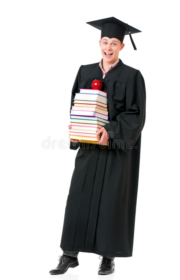 Graduate student in mantle with books stock photography
