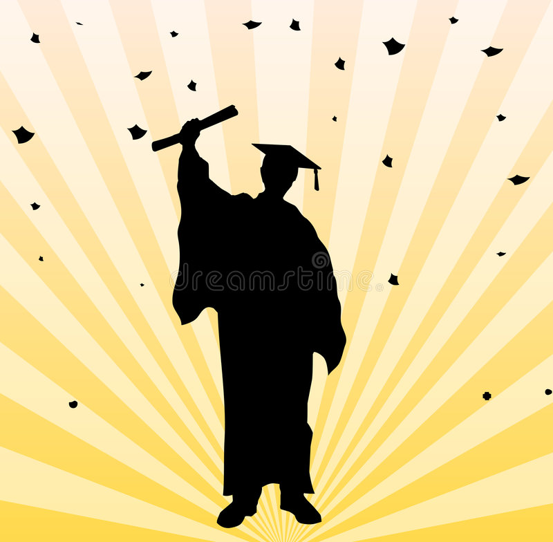 Graduate student party background. Vector illustration of graduate college student as silhouette and party background, with the diploma certificate in his hand stock illustration
