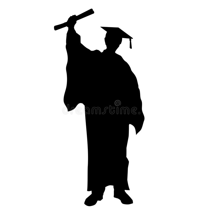 Graduate student silhouette. Vector illustration of graduate college student as silhouette, with the diploma certificate in his hand, with rasied arm and typical