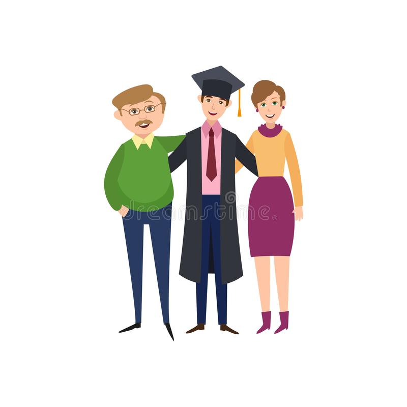 Graduate student standing with proud parents vector illustration