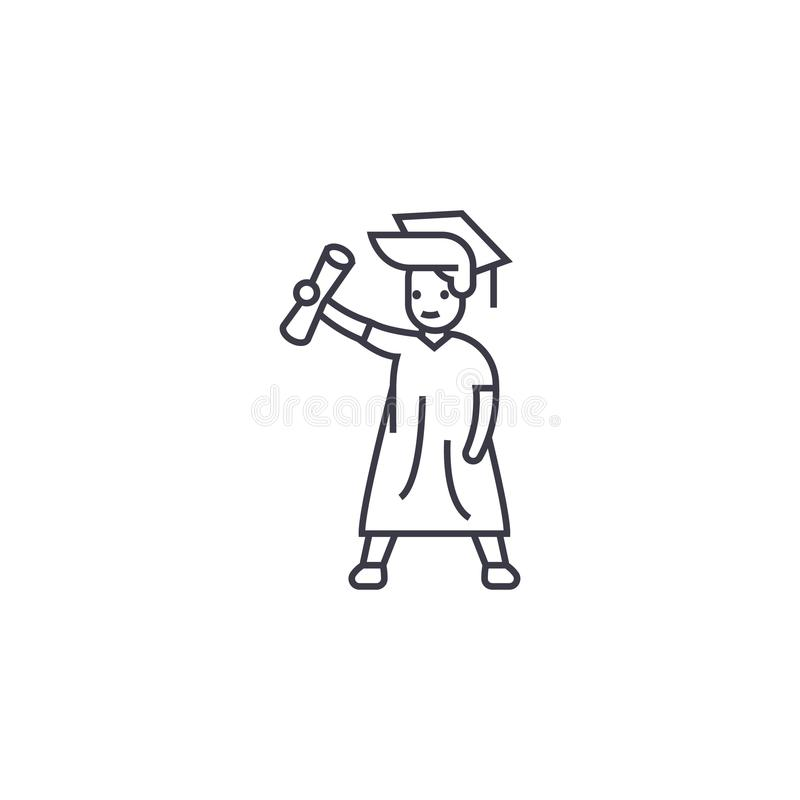 Graduate student vector line icon, sign, illustration on background, editable strokes royalty free illustration