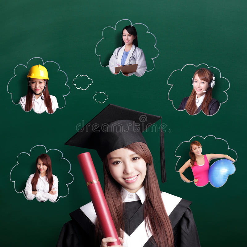 Graduate student woman think future royalty free stock photography