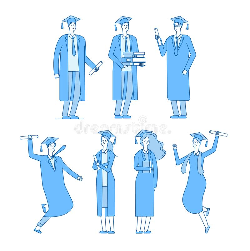 Graduate students character. Student group graduates high school graduated young male female in academic robe. Vector stock illustration