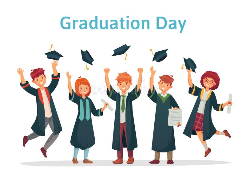 Graduate students. Graduation day of university student, success exam and college group throwing up academic caps vector stock illustration