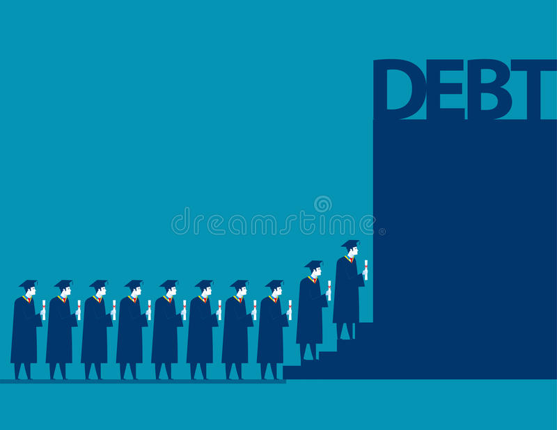 Graduate students walking into debt. Concept business debt illus stock illustration