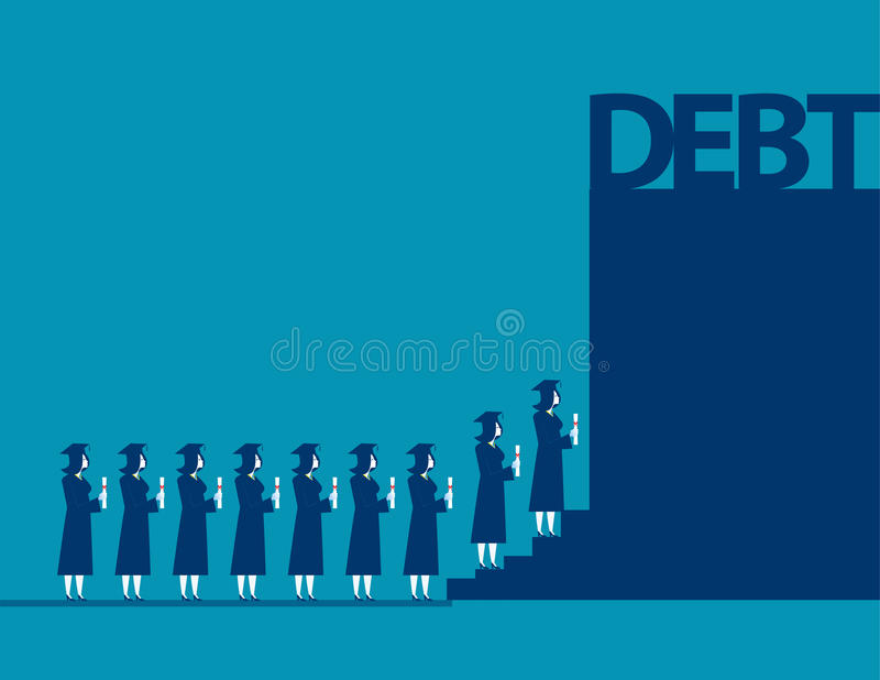 Graduate students walking into debt. Concept business debt illus. Tration. Vector cartoon character and abstract stock illustration