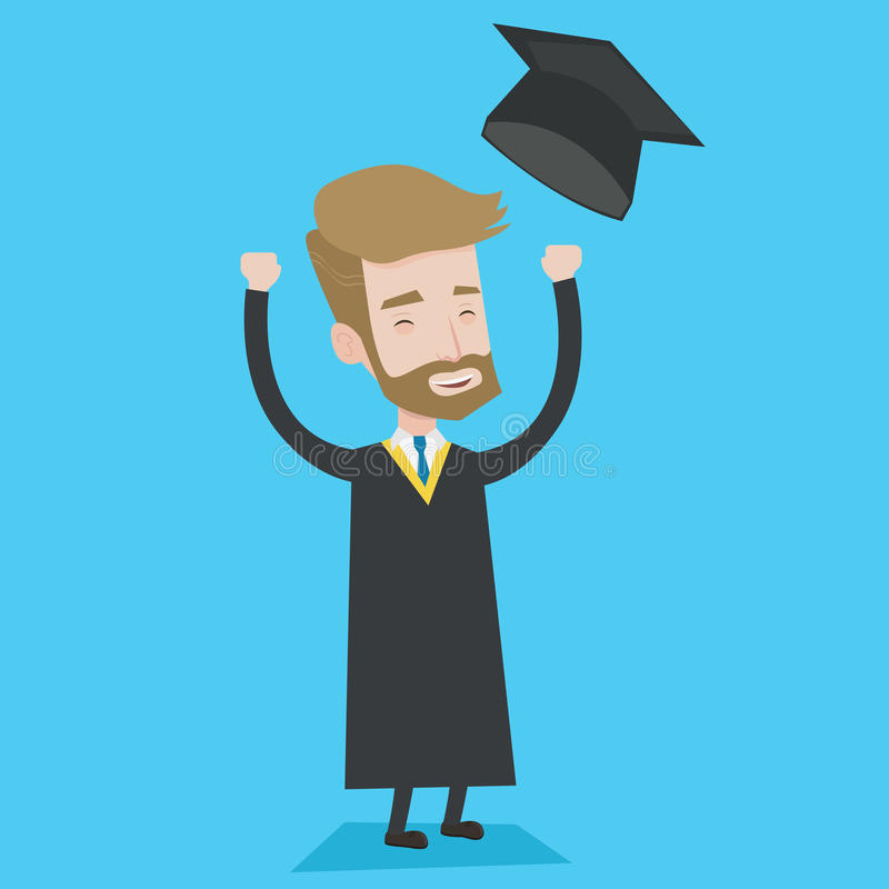 Graduate throwing up his hat vector illustration. royalty free illustration