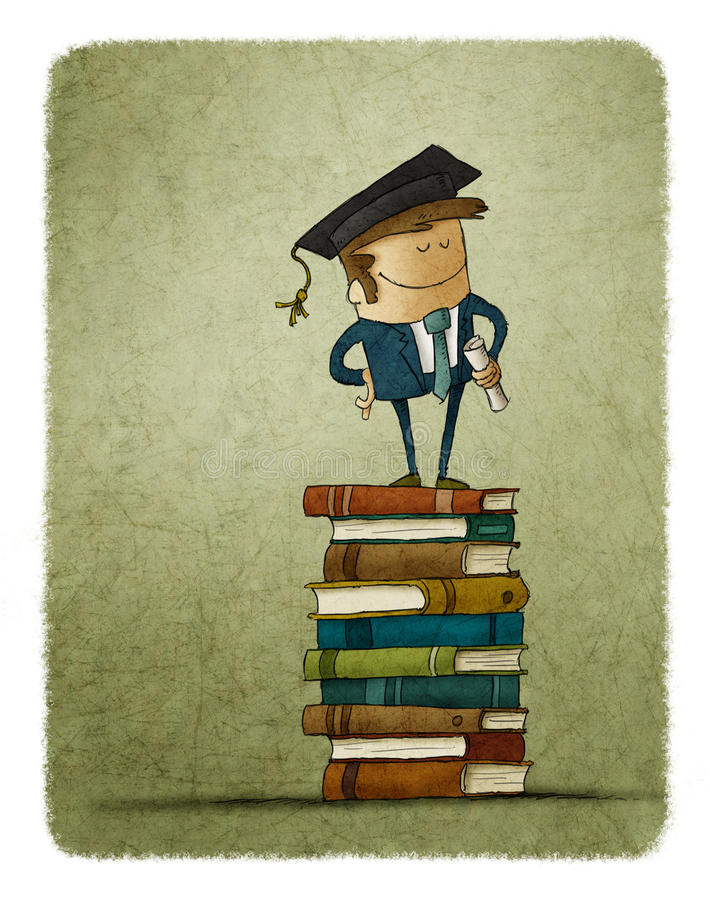 Graduate from a university. Standing upon a pile of books and knowledge stock illustration