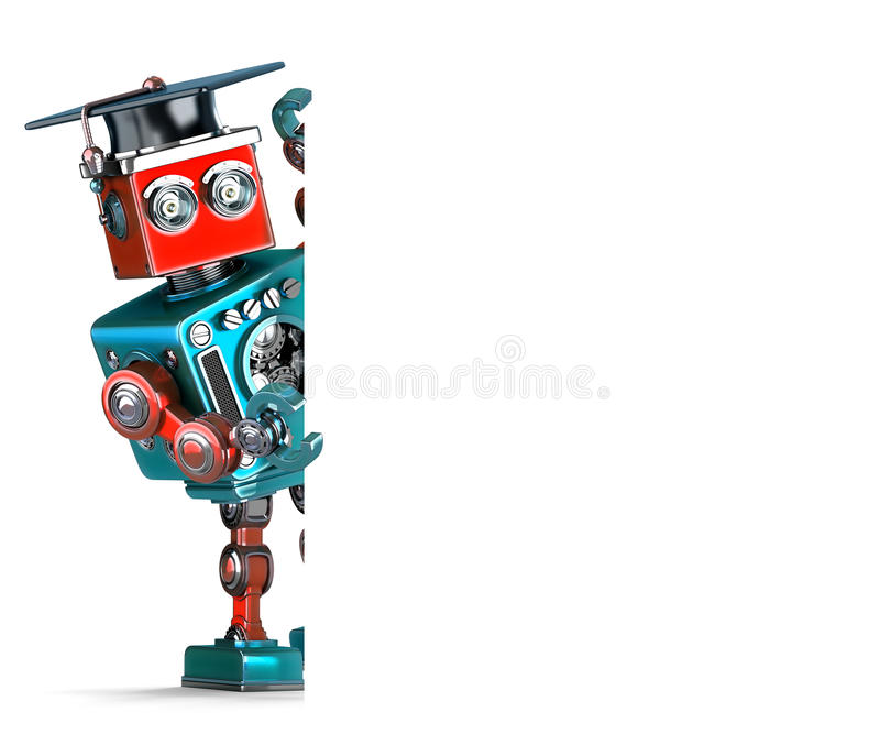 Graduate Vintage Robot with a blank banner. . Contains clipping path stock illustration
