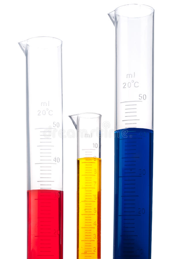 Free Graduated Cylinders Of Different Colored Chemicals Stock Images - 11198174
