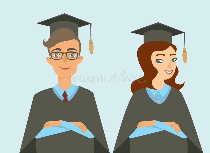 Graduated students boy and girl. Isolated flat vector characters vector illustration