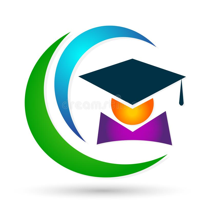 Graduates academic high education students logo icon successful graduation students bachelor icon element on white background. Graduates academic high education royalty free illustration
