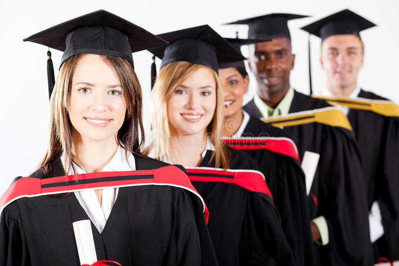 Graduates at graduation. Group of multiracial graduates at graduation stock photography