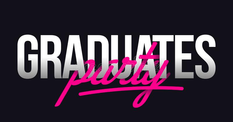 Graduates Party Title Hand lettering. stock illustration