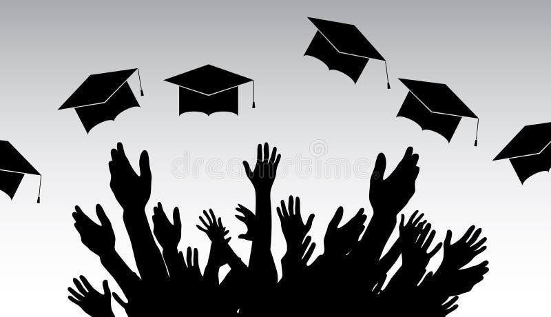 Graduates, People throw square academic cap, oxford cap. Vector Illustration. EPS10 vector illustration