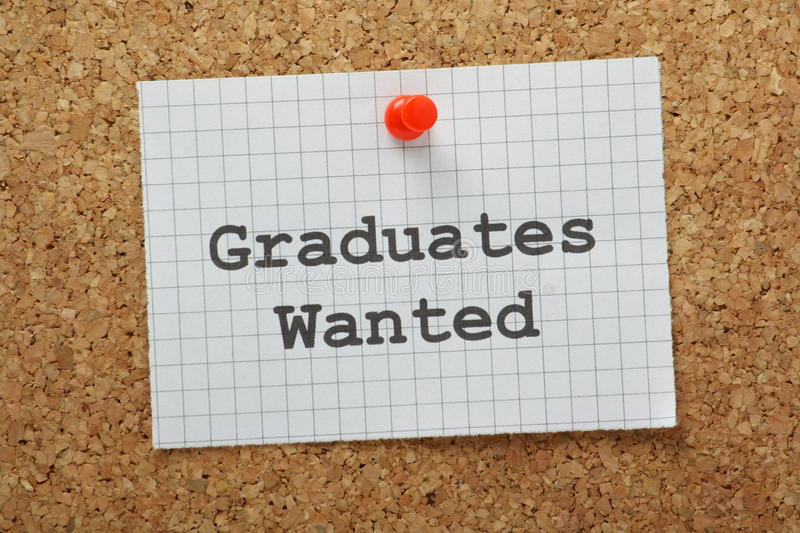 Graduates Wanted. Typed on a piece of graph paper and pinned to a cork notice board stock image