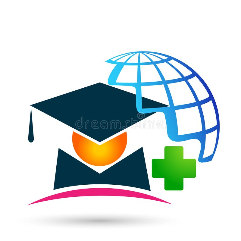 Graduates world academic high education students logo icon successful graduation medical bachelor icon element on white background. World Graduates academic high stock illustration