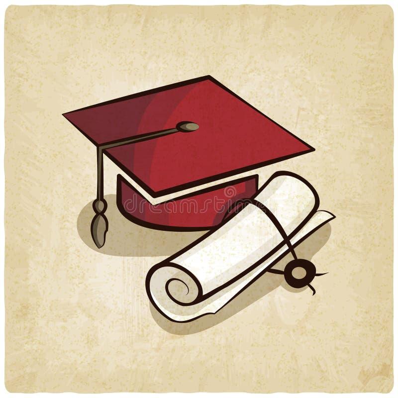 Graduatie GLB en diploma oude achtergrond stock illustratie
