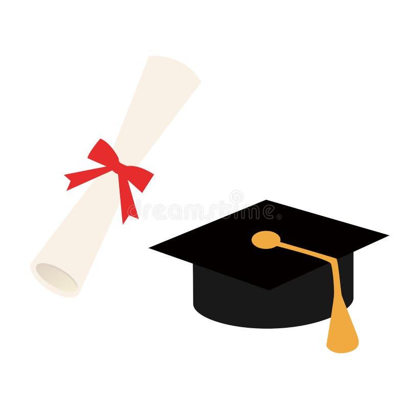 Graduatie GLB en diploma, vector vector illustratie
