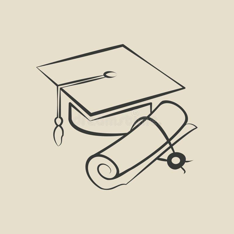 Graduatie GLB en diploma - vectorillustratie royalty-vrije illustratie
