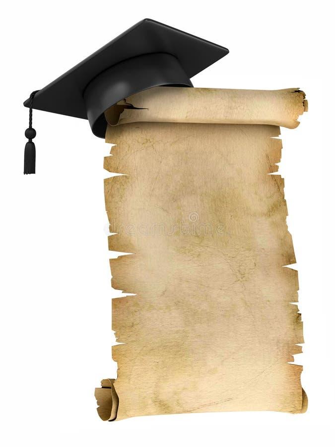 Graduatie GLB op de bovenkant van oud perkament stock illustratie