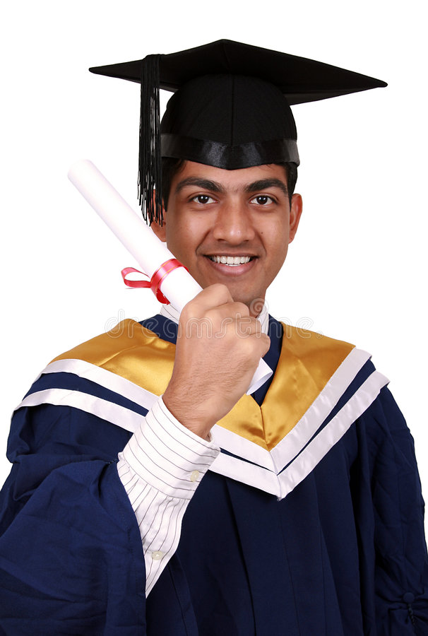 Graduatie met het knippen van weg stock foto's