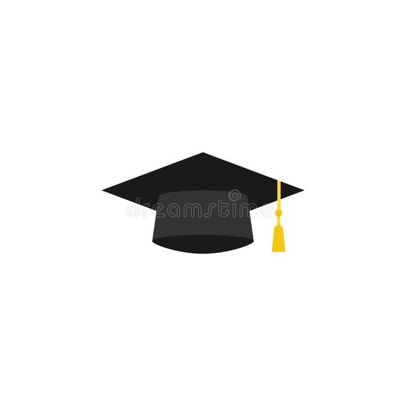 Graduatieglb vlak pictogram, onderwijsmiddelbare school stock illustratie