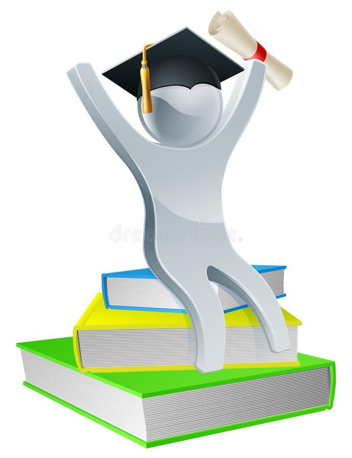 Graduatiepersoon op boeken royalty-vrije illustratie