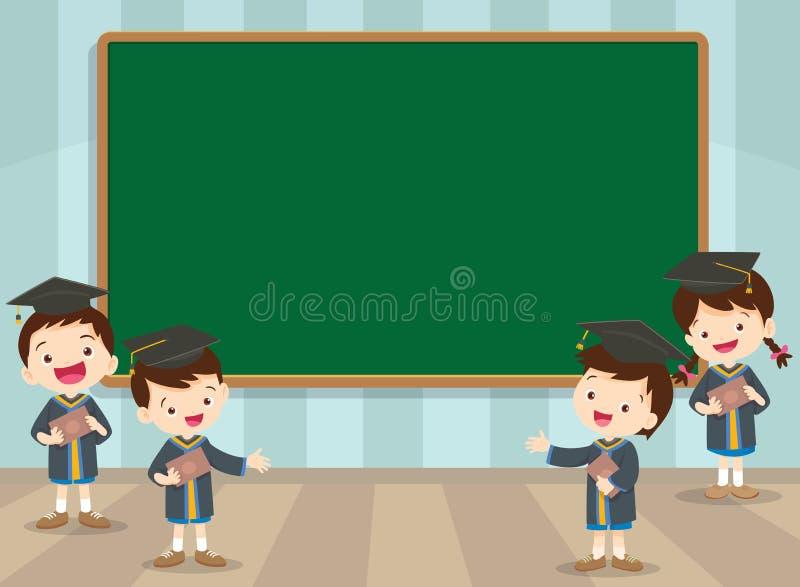 Graduatiestudenten en bord stock illustratie