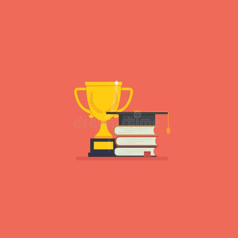 Graduatietoekenning graduatie GLB met kampioens gouden trofee en stapel van boek vector illustratie