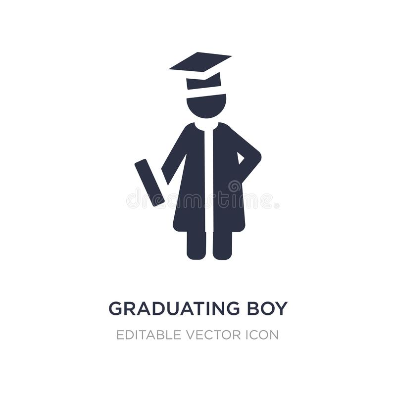graduating boy icon on white background. Simple element illustration from People concept vector illustration