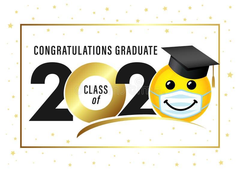 Graduating class of 2020, smile in academic cap & medical mask. Graduating class of 2020 with smile in academic cap and medical mask. Yellow smiling emoji vector illustration