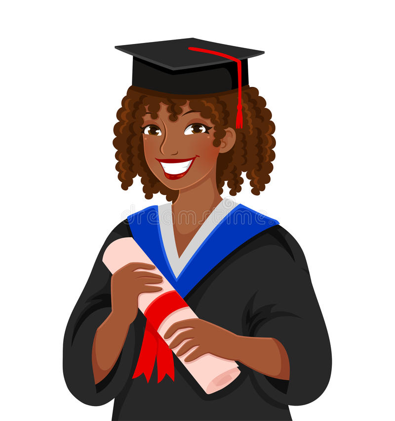 Graduating from college. Young colored skinned woman graduating college royalty free illustration