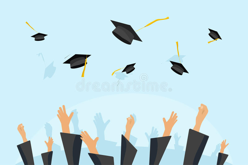 Graduating students or pupil hands in gown throwing graduation caps in the air, flying academic hats, throw mortar. Boards in the sky flat cartoon vector royalty free illustration