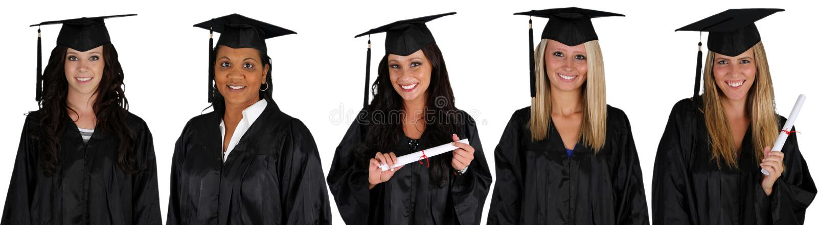 Graduation. Of a group of women dressed in a black gown stock images