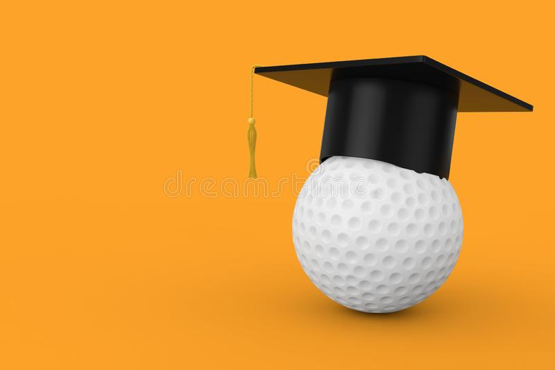 Graduation Academic Cap over White Golf Ball. 3d Rendering. Graduation Academic Cap over White Golf Ball on a yellow background. 3d Rendering stock illustration