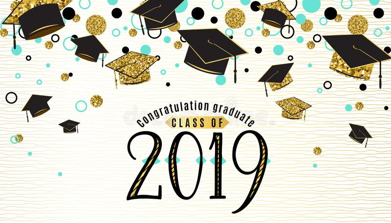 Graduation background class of 2019 with graduate cap, black and gold color, glitter dots on a white golden line striped. Backdrop. Hat thrown up. Vector stock illustration