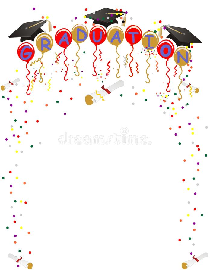 Graduation Ballons and confetti for celebration stock photography
