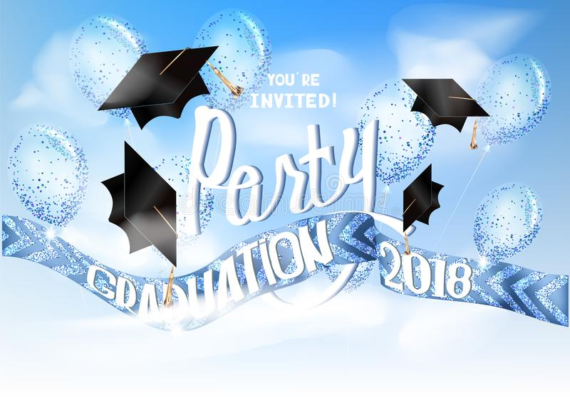 Graduation 2018 banner with sky. hats and air balloons. vector illustration