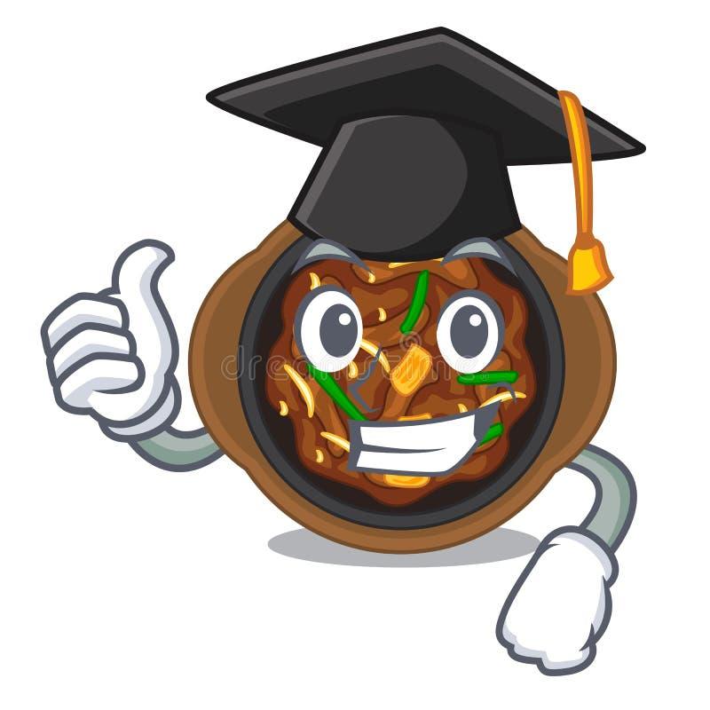 Graduation bulgogi in a the bowl cartoon. Vector illustration vector illustration