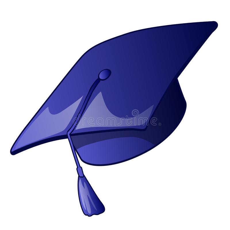 Graduation cap with a blue tassel isolated on a white background. Vector illustration. stock illustration