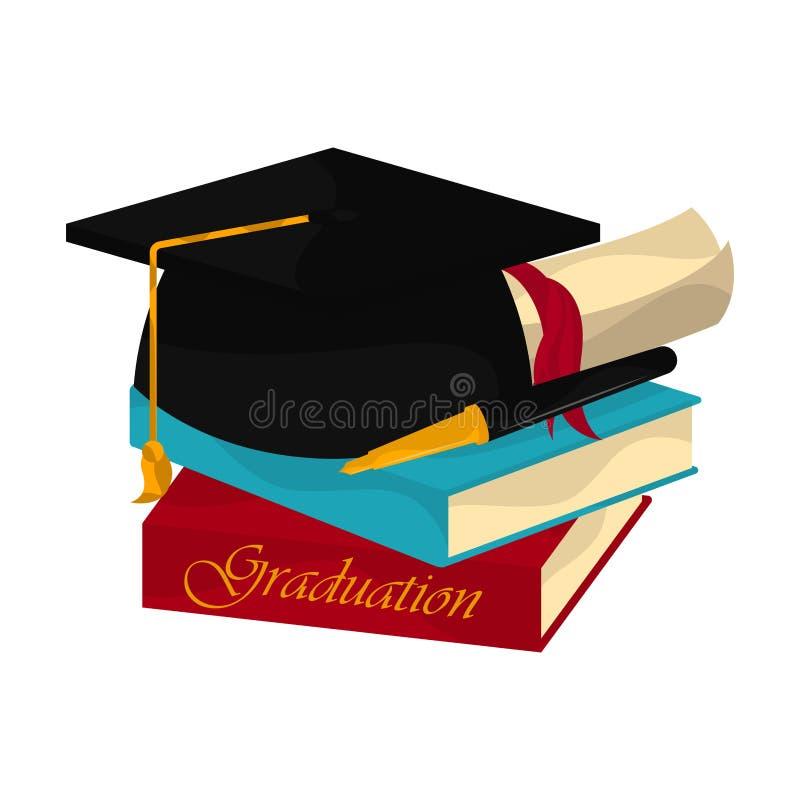 Graduation objects illustration. Graduation cap, books and diploma. Graduation concept - Vector stock illustration