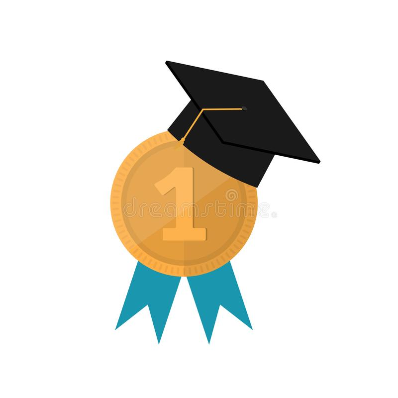 Graduation cap with champion gold, award medals with blue ribbons vector illustration
