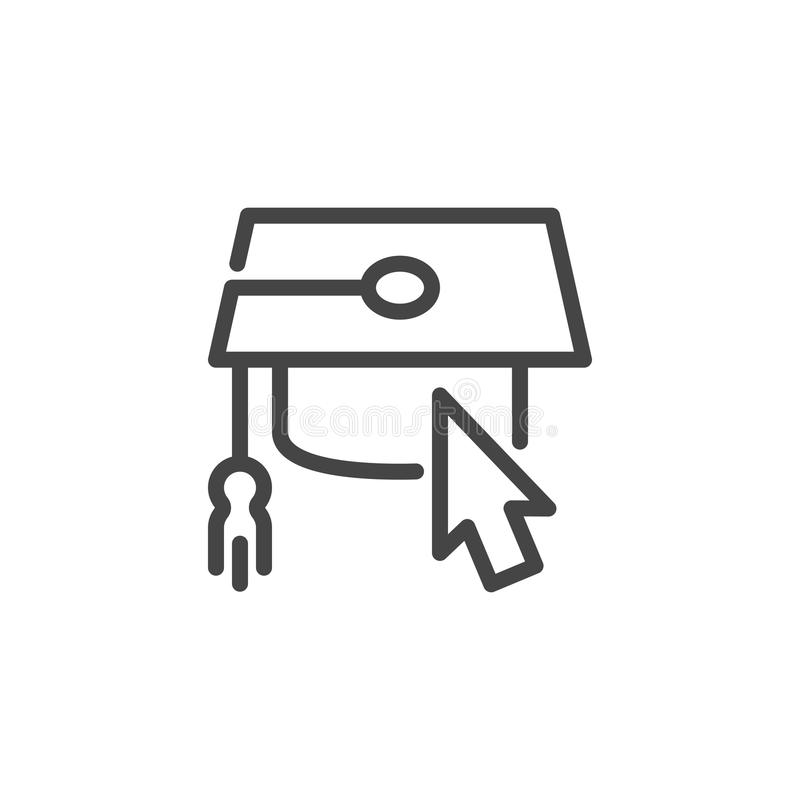Graduation cap and cursor icon. Web label for thematic training sites and apps, game element. Computer mouse pointer royalty free illustration