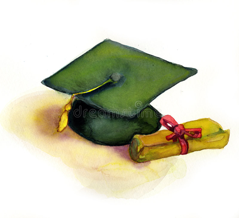 Graduation Cap and Diploma royalty free illustration