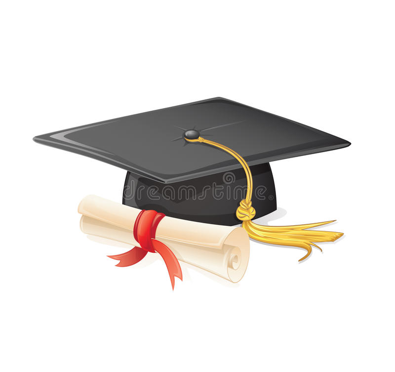 Graduation cap and diploma vector illustration