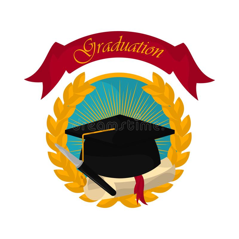 Graduation objects illustration. Graduation cap with a diploma in a laurel wreath label. Graduation concept - Vector vector illustration